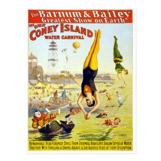 ヴィンテージのコニーアイランドのサーカス水カーニバル ポストカード