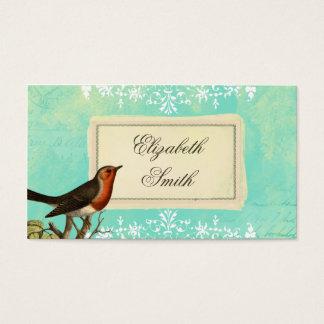 ヴィンテージのコラージュの鳥の青い名刺 名刺