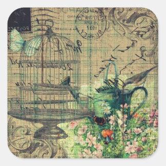ヴィンテージのコラージュw/Bird及び鳥かごの庭 スクエアシール