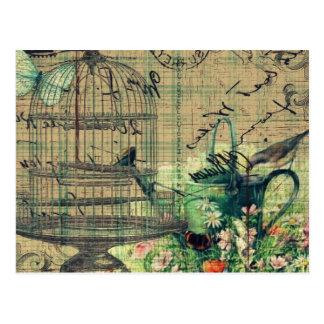ヴィンテージのコラージュw/Bird及び鳥かごの庭 ポストカード