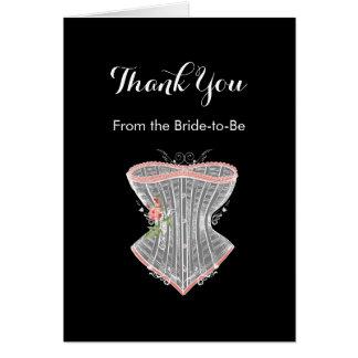 ヴィンテージのコルセットの個人的なブライダルシャワーありがとう カード
