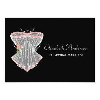 ヴィンテージのコルセットの個人的なランジェリーのブライダルシャワー カード