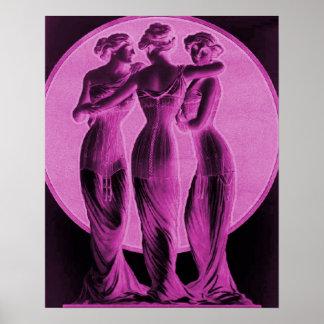 ヴィンテージのコルセット広告、ピンク3優美 ポスター