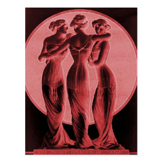 ヴィンテージのコルセット深紅色3優美 ポストカード