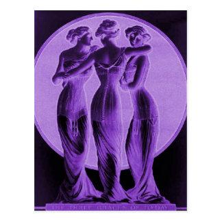 ヴィンテージのコルセット、紫色3優美 ポストカード