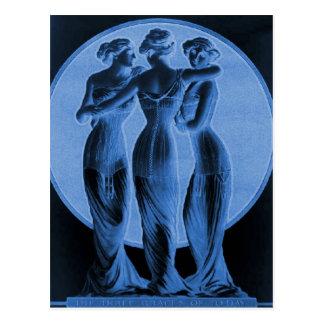 ヴィンテージのコルセット、青い3優美 ポストカード