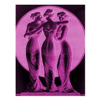 ヴィンテージのコルセット、3優美のピンク ポストカード