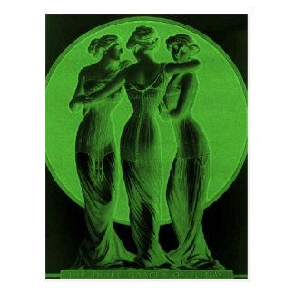 ヴィンテージのコルセット、3優美の緑 ポストカード