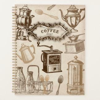 ヴィンテージのコーヒー時間コーヒーポットのプランナー プランナー手帳