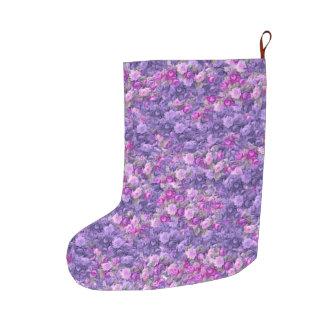 ヴィンテージのゴシック様式ばら色のラベンダーの紫色 ラージクリスマスストッキング