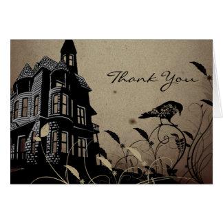 ヴィンテージのゴシック様式家の結婚式は感謝していしています カード