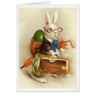 ヴィンテージのゴルファーのイースターのウサギ!  ヴィンテージのイースターカード グリーティングカード