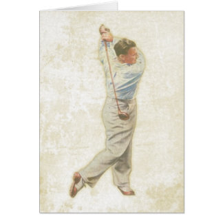 ヴィンテージのゴルフプレーヤーが付いている挨拶状 カード