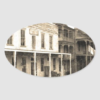 ヴィンテージのゴーストタウンのホテル 楕円形シール
