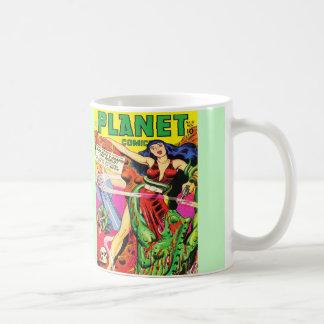 ヴィンテージのサイファイの漫画(惑星の漫画)の白いマグ コーヒーマグカップ