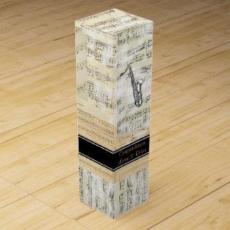ヴィンテージのサクソフォーン音楽名前入りなワイン用化粧箱 ワインギフトボックス