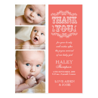 ヴィンテージのサケ3の写真の赤ん坊は郵便はがき感謝していしています
