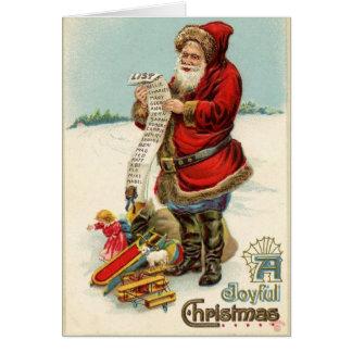 ヴィンテージのサンタのクリスマスのリストカード カード