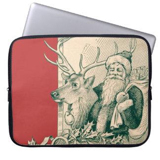 ヴィンテージのサンタのトナカイのクリスマスの聖者ニック ラップトップスリーブ