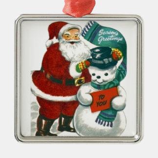 ヴィンテージのサンタの雪だるまのクリスマスの冬休みの芸術 メタルオーナメント