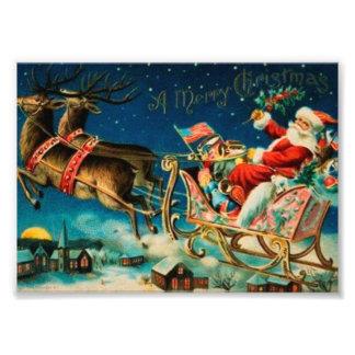 ヴィンテージのサンタクロースのそりのクリスマスの休日 フォトプリント