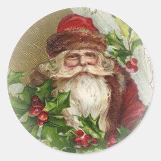 ヴィンテージのサンタクロースのクリスマスのステッカー ラウンドシール