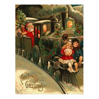 ヴィンテージのサンタクロースのクリスマスの列車 ポストカード