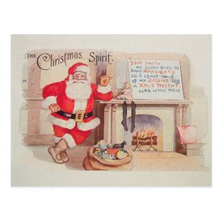 ヴィンテージのサンタクロースのクリスマスの精神の郵便はがき 葉書き