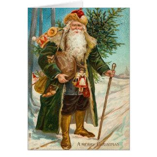 ヴィンテージのサンタクロースのクリスマスカード カード
