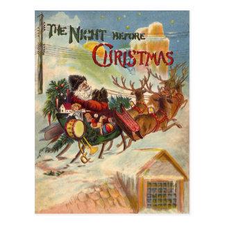 ヴィンテージのサンタクロースのトナカイのそりの郵便はがき ポストカード