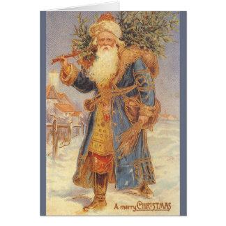 ヴィンテージのサンタクロースの木のクリスマスの挨拶状 カード