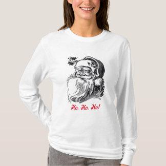 ヴィンテージのサンタクロースの白黒の赤のクリスマス Tシャツ