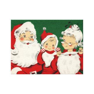 ヴィンテージのサンタ家族のクリスマス キャンバスプリント