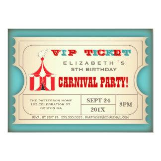 ヴィンテージのサーカスのカーニバルの誕生会のチケット カード