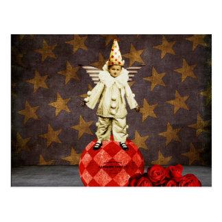 ヴィンテージのサーカスの天使のピエロ ポストカード
