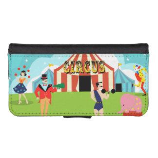 ヴィンテージのサーカスの財布カード iPhoneSE/5/5sウォレットケース