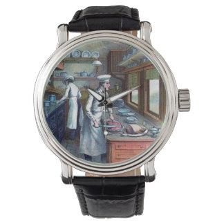 ヴィンテージのシェフ- Sousシェフのイラストレーションの腕時計 腕時計
