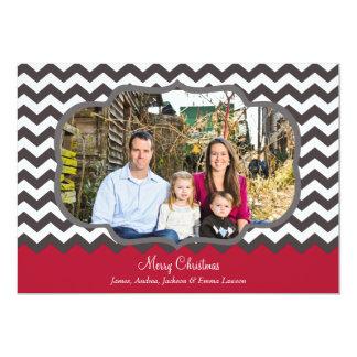 ヴィンテージのシェブロンフレームのメリークリスマスの写真 カード