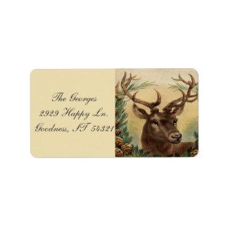 ヴィンテージのシカの木びき台の雄鹿の自然の素朴なクリスマス 宛名ラベル