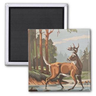 ヴィンテージのシカの森林景色PBN磁石 マグネット