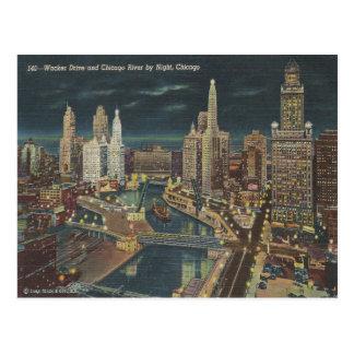 ヴィンテージのシカゴ夜スカイライン ポストカード