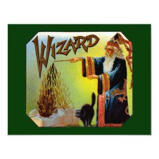 ヴィンテージのシガーのラベルの芸術、黒猫を持つ魔法使い 10.8 X 14 インビテーションカード