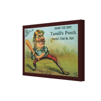 ヴィンテージのシガーのラベル、スポーツの野球のTansillの穿孔器 キャンバスプリント
