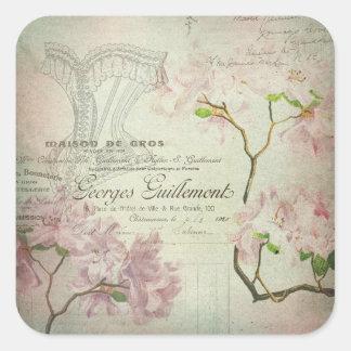 ヴィンテージのシックでフランスのな原稿のぼろぼろの花のコルセット スクエアシール