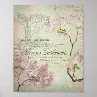 ヴィンテージのシックでフランスのな原稿のぼろぼろの花のコルセット ポスター
