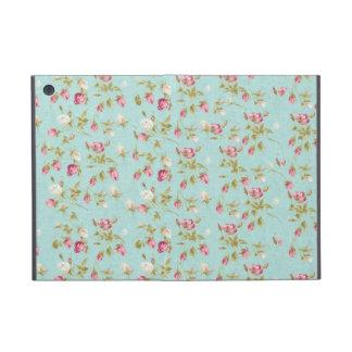 ヴィンテージのシックな花のバラの青いぼろぼろのばら色の花 iPad MINI ケース