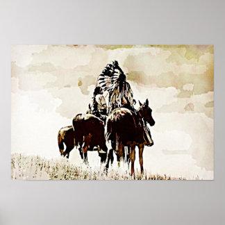 ヴィンテージのシャイエンヌの戦士のキャンバスのプリント ポスター