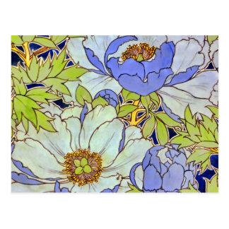 ヴィンテージのシャクヤクの花模様の郵便はがき ポストカード