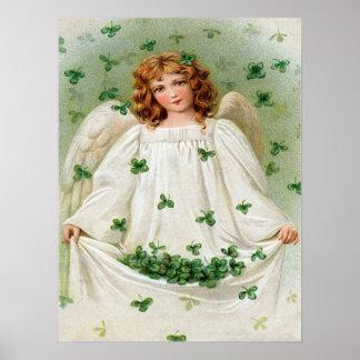 ヴィンテージのシャムロックの天使のセントパトリックの日カード ポスター