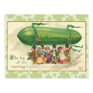 ヴィンテージのシャムロックの軟式小型飛行船の郵便はがき ポストカード